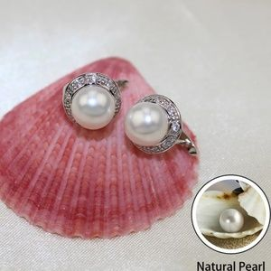 NEW Natural Pearl Sterling Silver Earrings S925